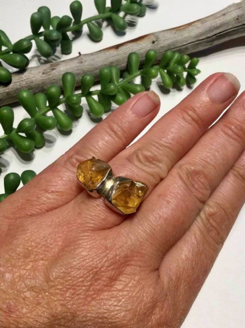 Raw Citrine Adjustable Ring.  Encoded By An Egyptian High Priestess