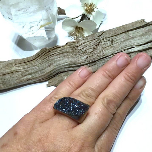 Druzy Aura Carved From Single Piece Of Crystal.  Whole Ring is Crystal.