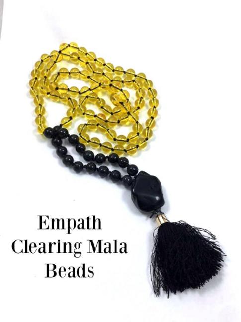 Empath Protection/Clearing Mala Prayer Beads: Citrine, Nuummite Black Onyx