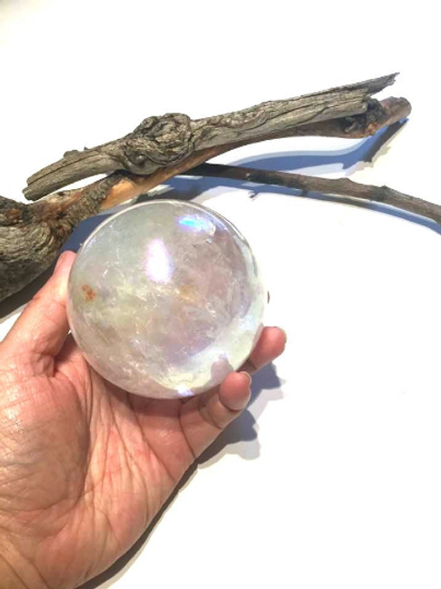 Angel Aura Crystal Ball/Sphere, Stand. Remove Negativity, Empath Protection