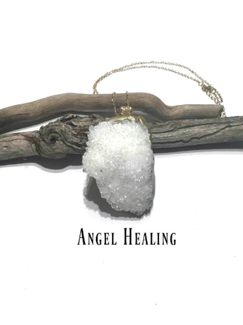Angel Aura Necklace. Beautiful Druzy To Connect to Your Guardian Angels...
