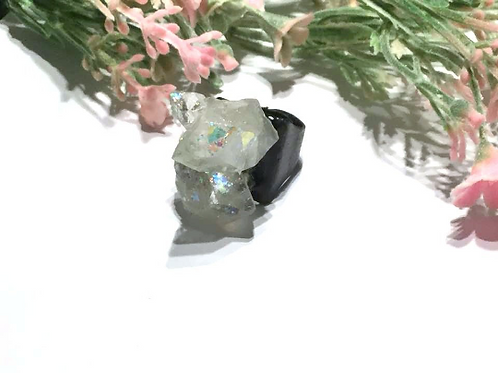 Clear Quartz Ring. Cluster Ring.  Sz 7.  Twin Flame,  Statement Ring