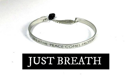 Just Breath Adjustable Bangle With Sugilite/Herkimer Diamond. Angel Protection