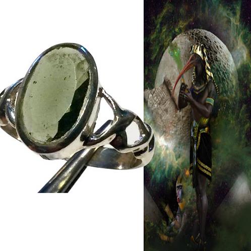 Moldavite Ring. Polished Moldavite. Infused With Energy Of THOTH sz 9