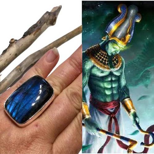 Labradorite Ring Encoded By High Priestess As Stargate To Osiris