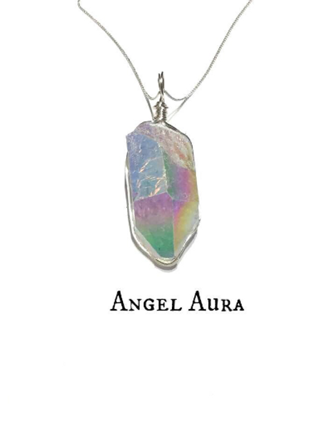 Angel Aura Necklace, Sterling Silver, Crystal Healing Necklace.