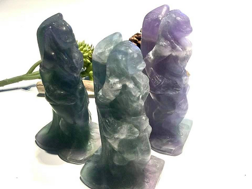 Sekhmet Crystal Statue in Fluorite.  Goddess Of  Healing and Power/Protection