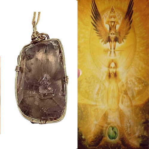 Golden Rutilated Necklace Encoded Golden Ray,  God and ALL ARCHANGELS