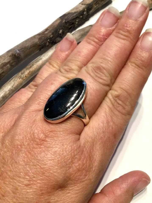 Nuummite Ring. High Grade Solid Sterling Silver AAA Grade