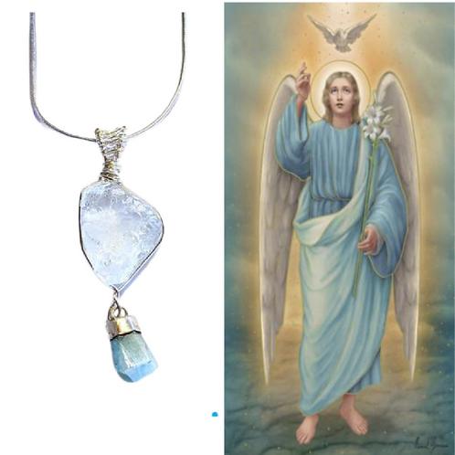 Aquamarine Necklace. Archangel Gabriel. Removes Blockages. Throat Chakra