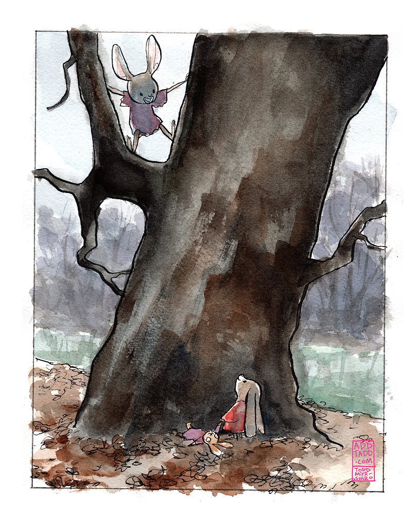 WC -- Old Tree with Bunny Rabbit Sibling
