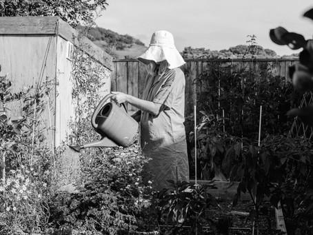 Girls in their garden - Rach