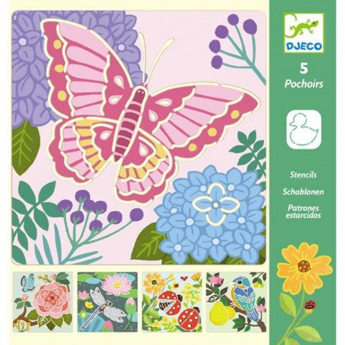 5 pochoirs insectes - fleurs