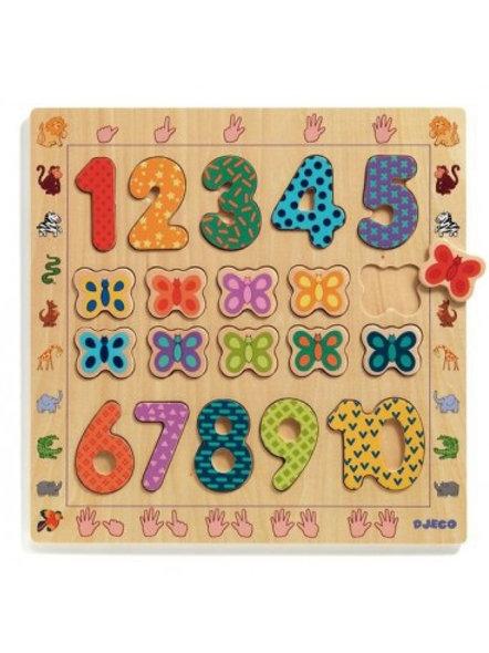 Puzzle des chiffres en bois