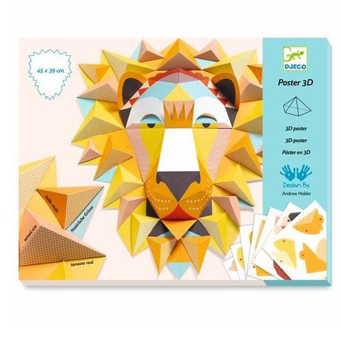 Poster 3D Lion