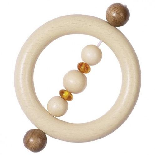 Hochet anneau en bois et ambre