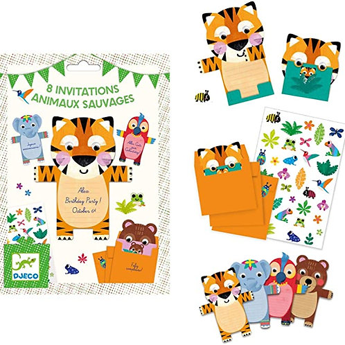 8 cartes d'invitations animaux sauvages