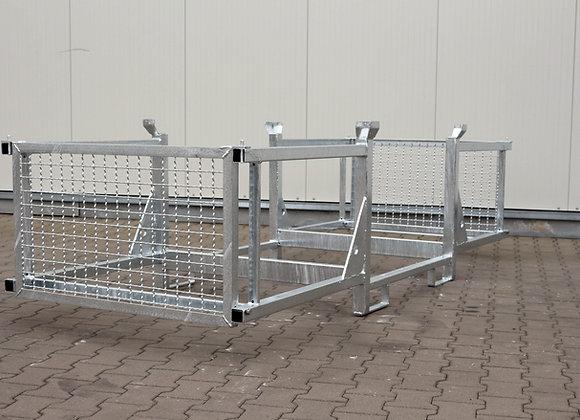 Transport- u. Lagergestell mit 3 Fächern und Seitenschutz 320x120x87