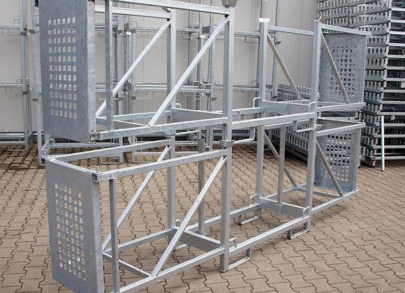 Transport- u. Lagergestell mit 2 Fächern und Seitenschutz 320x60x87