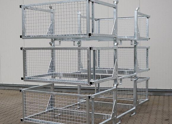 Transport- u. Lagergestell mit 3 Fächern und Seitenschutz 320x155x87