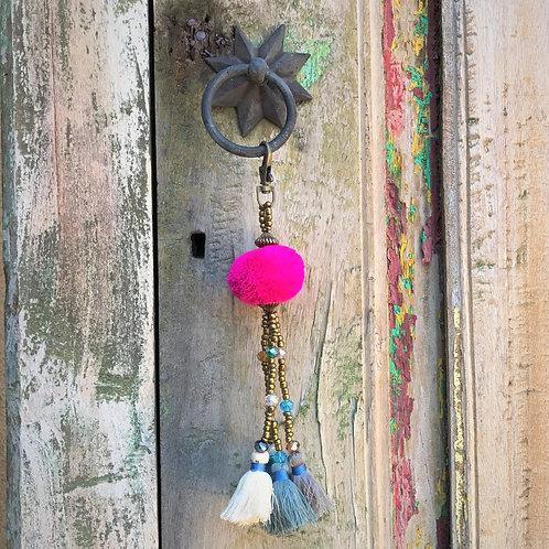 """""""Fuschia Pom-Pom"""" Keychain with Tassels"""