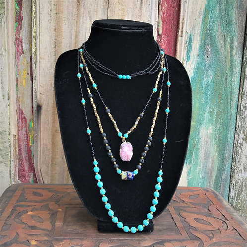 """""""Triple Agate"""" Beaded Necklace"""