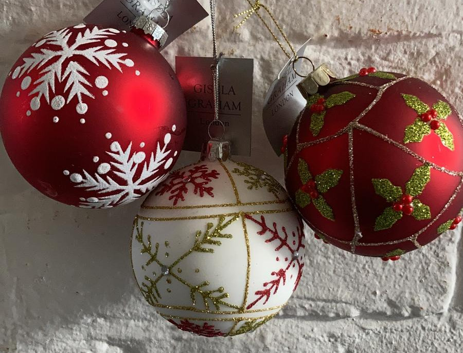 3 x Red & White Baubles
