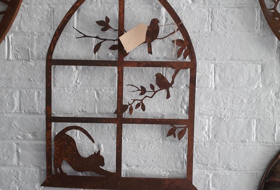 Garden Wall Mount - Cat & Bird Window