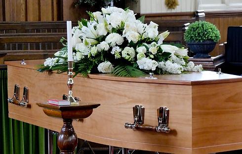 closeup shot of a colorful casket in a h