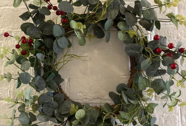 Eucalyptus & Berry Faux Wreath - 50cm