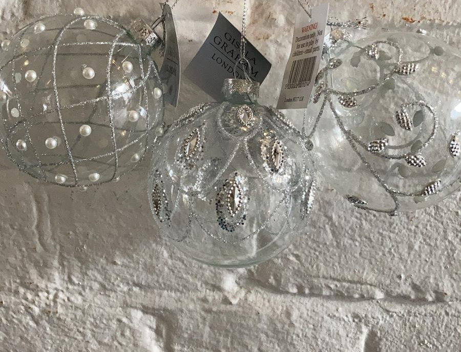 3 x Clear Baubles