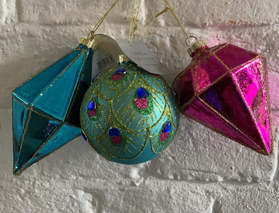 3 x Teal & Pink Baubles
