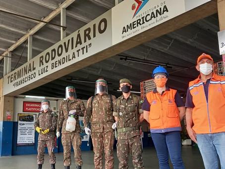 Ação de desinfecção do Exército contra Covid em Americana atinge 14 locais