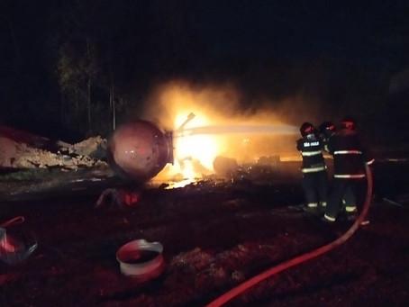 Fogo e explosões atingem tanques de gás em cerâmica de Limeira