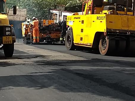 Secretaria de Obras de Americana prossegue recapeamento asfáltico na Rua Solimões