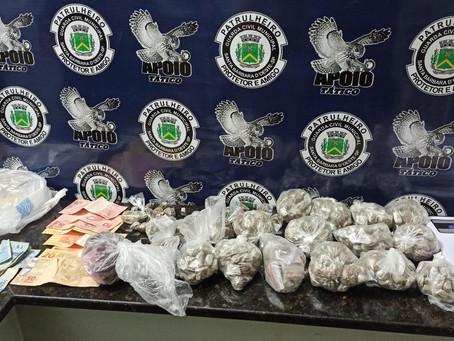 Equipe do Apoio da Guarda Civil de Santa Bárbara faz apreensão de 538 porcões de Maconha