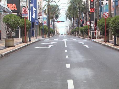 Araraquara tem ruas vazias e pouca movimentação no 1ª dia útil de lockdown total