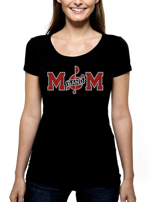 Band Mom RHINESTONE T-Shirt or Tank Top - BLING Sport Mother Marching Music