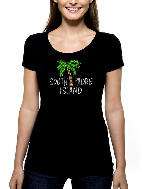 South Padre Island RHINESTONE T-Shirt or Tank - BLING Spring Break Palm Tree