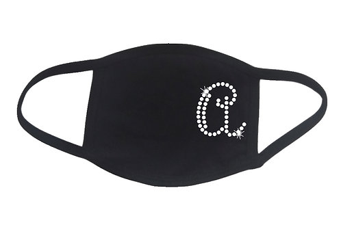 RHINESTONE A Monogram face mask bling initial name letter personalized
