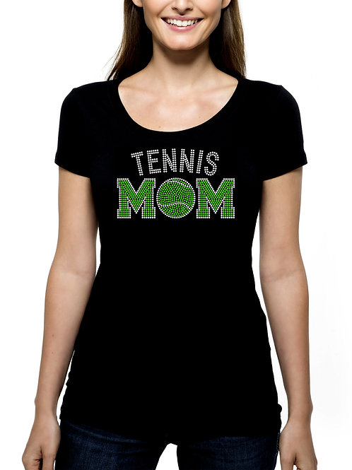 Tennis Mom RHINESTONE T-Shirt or Tank Top - BLING Sport Mother Ball Racquet