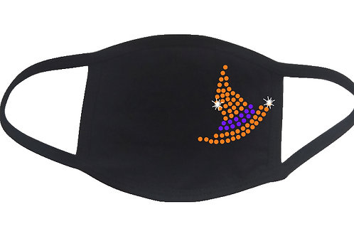 RHINESTONE Witch Hat Halloween face mask - bling scary trick treat party fun