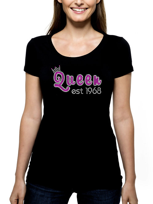 Birthday Queen with Year T-Shirt Tank Top BLING - Crown customize year and color