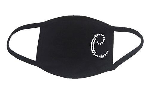 RHINESTONE C Monogram face mask bling initial name letter personalized