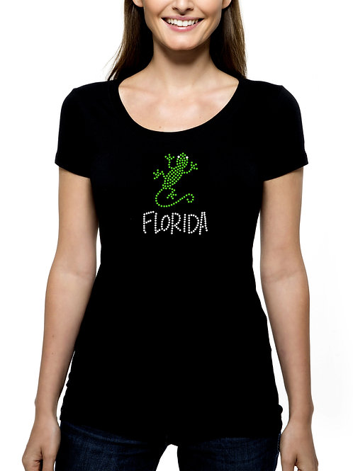 Florida Lizard RHINESTONE T-Shirt or Tank - BLING Spring Break Beach Gecko Sun
