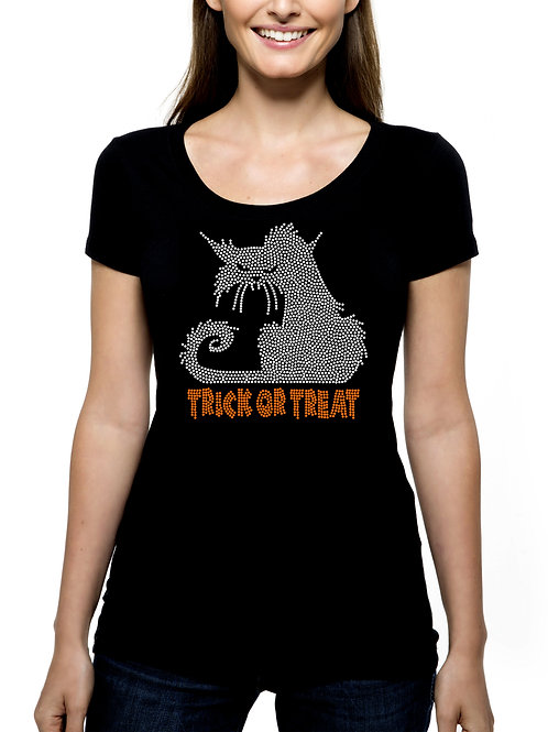 Scary Cat Trick or Treat RHINESTONE T-Shirt or Tank Top - BLING Halloween Kitty