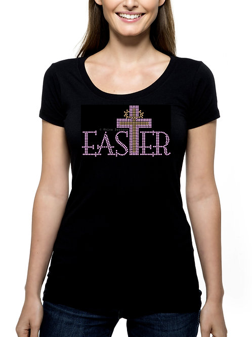 Easter Cross RHINESTONE T-Shirt or Tank Top - BLING Sunday Jesus Religious