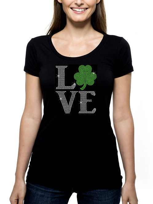 Love Shamrock RHINESTONE T-Shirt or Tank Top - BLING St Patrick's Day Irish