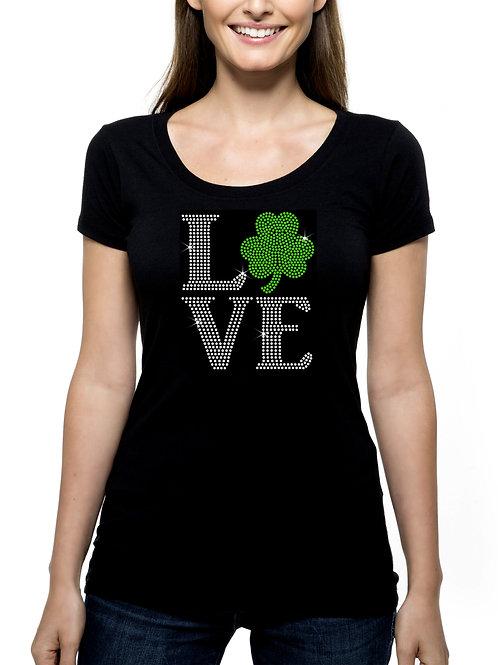 Love Shamrock RHINESTONE T-Shirt or Tank Top - BLING St Patrick's Day Irish