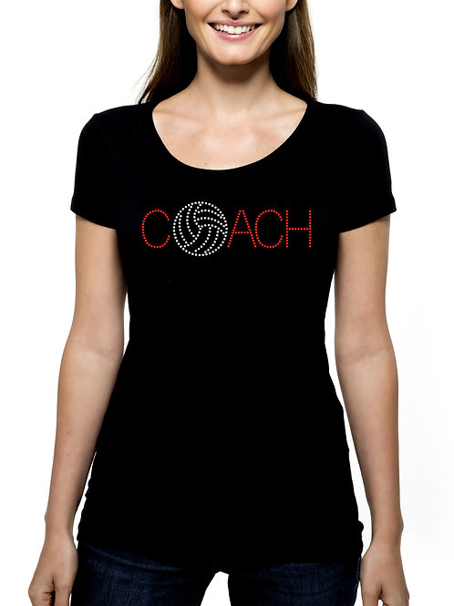 Volleyball Coach RHINESTONE T-Shirt or Tank Top BLING Sports Team Leader